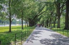 Walking path inside Lincoln Park of Washington DC. Washington DC, USA - May 17, 2014: People walking on walking path and garden inside Abraham Lincoln Park of Royalty Free Stock Photography