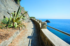 Walking path in Italian village Monterosso Stock Photo