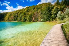 Walking path through the lake in Plitvice Royalty Free Stock Photos