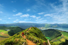 Walking path leading to a view on the lakes of Sete Cidades, Azo. The Walking path leading to a view on the lakes of Sete Cidades, Azores, Portugal Royalty Free Stock Images