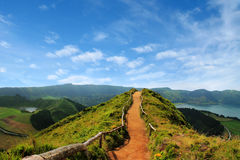 Walking path leading to a view on the lakes of Sete Cidades, Azo Royalty Free Stock Photography