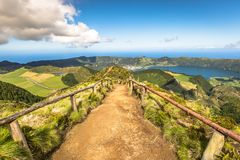 Walking path leading to a view on the lakes of Sete Cidades and Santiago in Sao Miguel, Azores royalty free stock photos