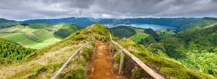 Walking path leading to a view on the lakes of Sete Cidades Royalty Free Stock Photo