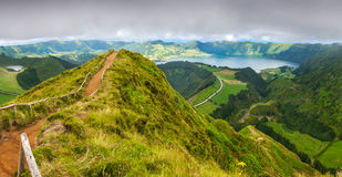 Walking path leading to a view on the lakes of Sete Cidades Stock Image