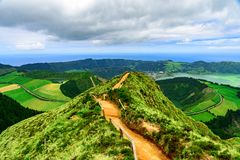 Walking path leading to a view point Boca do inferno on the lakes of Sete Cidades, Azore. S, Portugal stock image