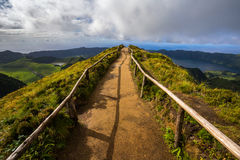 Walking Path Leading to a View on The Seven Cities Lake. In Sao Miguel Island, Azores, Portugal Stock Photo