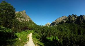 Walking path in mountains Royalty Free Stock Images