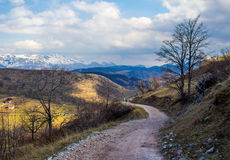 Walking path in the mountains Stock Photography