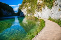 Walking path near the lake in Plitvice Royalty Free Stock Photography