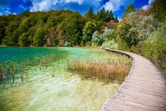 Walking path in Plitvice Royalty Free Stock Photos