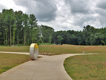 Walking Path at Quarry Park in Winston-Salem. Once an old granite quarry, the mostly wooded 200 acres was acquired by the city and in 2017 opened as Forsyth stock image
