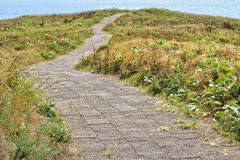 Walking path into the sea stock photography