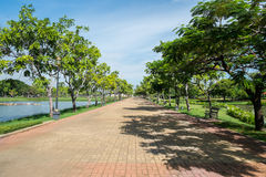 Walking path in Suan Luang Rama 9 park, Thailand Royalty Free Stock Image