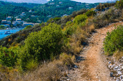 Walking path to Agios Stefanos, Corfu, Greece Royalty Free Stock Images