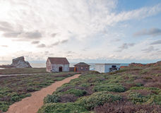 Walking path to Red Brick Fog Signal Building at Piedras Blancas Lighthouse point on the Central Coast of California Stock Images