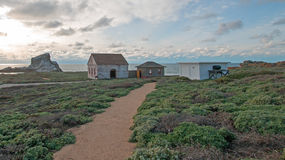 Walking path to Red Brick Fog Signal Building at Piedras Blancas Lighthouse point on the Central Coast of California Stock Photos