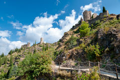 Walking path and Towers Quertinheux Cabaret and La Tour Regine royalty free stock photo