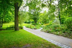 Walking paths in the park. Walking paths in the spring park stock image