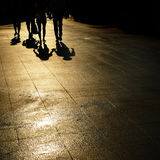 Walking People. Shadow of walking people cast on a street in Asakusa, Tokyo royalty free stock photos