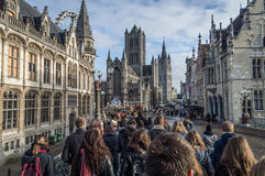 Walking people from the behind on a tour in Gent Royalty Free Stock Photos