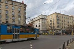 Walking people on Boulevard Vitosha in city of Sofia, Bulgaria Stock Images