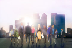 Walking people composition, motion blur, Business and modern life concept Stock Photo