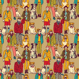Walking people and dogs color seamless pattern Stock Photography