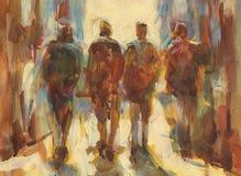 Walking people handmade  painting. Walking people handmade oil painting on canvas Royalty Free Stock Photos