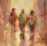 Walking people handmade  painting. Walking people handmade oil painting on canvas Stock Photo