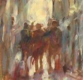 Walking people handmade painting. Walking people handmade oil painting on canvas Stock Photos