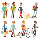 Walking people. Human persons on street in outdoor activity vector set. People woman and man, illustration of people walking and cycling vector illustration
