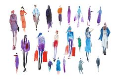 Walking people Outerwear Autumn Watercolor illustration Sketch drawing Royalty Free Stock Photos