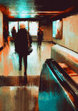 Walking people painting. Digita painting showing rear view of city people urban scene abstract background Royalty Free Stock Photography