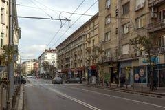 Walking people on Rakovski street in city of Sofia, Bulgaria Stock Photos