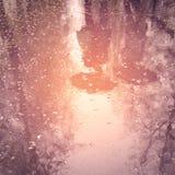 Walking people, reflection in the wet asphalt - vintage effect. Stock Images