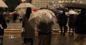 Walking people at Shibuya crossing in Tokyo rainy day. Walking people at the crossing in Tokyo rainy day. Shibuya-ku Tokyo Japan - 02.28.2019 : It is walking stock video footage