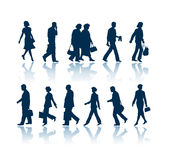 Walking people silhouettes. Walking people 12 silhouettes Royalty Free Stock Image