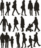 Walking people - silhouttes Royalty Free Stock Image