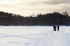 Walking people on snowy field Royalty Free Stock Photos