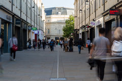 Walking people in Southgate St, Bath. ENGLAND, BATH - 29 SEP 2015: Walking people in Southgate St, Bath, Southgate Pl, shopping Royalty Free Stock Photos