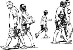 Walking people royalty free illustration