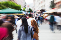 Walking people with zoom effect Stock Photography
