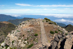 Walking on Pico Ruivo, Madeira mountain Royalty Free Stock Image