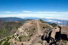 Walking on Pico Ruivo, Madeira mountain Royalty Free Stock Photo