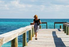 Walking On A Pier royalty free stock photography