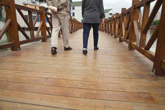 walking on plank road Royalty Free Stock Photos