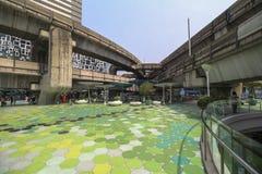 Walking platform above street in Bangkok near shopping mall Stock Photos