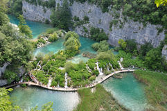 Walking the Plitvice waterfalls Royalty Free Stock Image