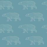 Walking polar bears contour pattern. Walking polar bears contour seamless pattern vector illustration