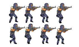 Walking Police Animation Stock Images